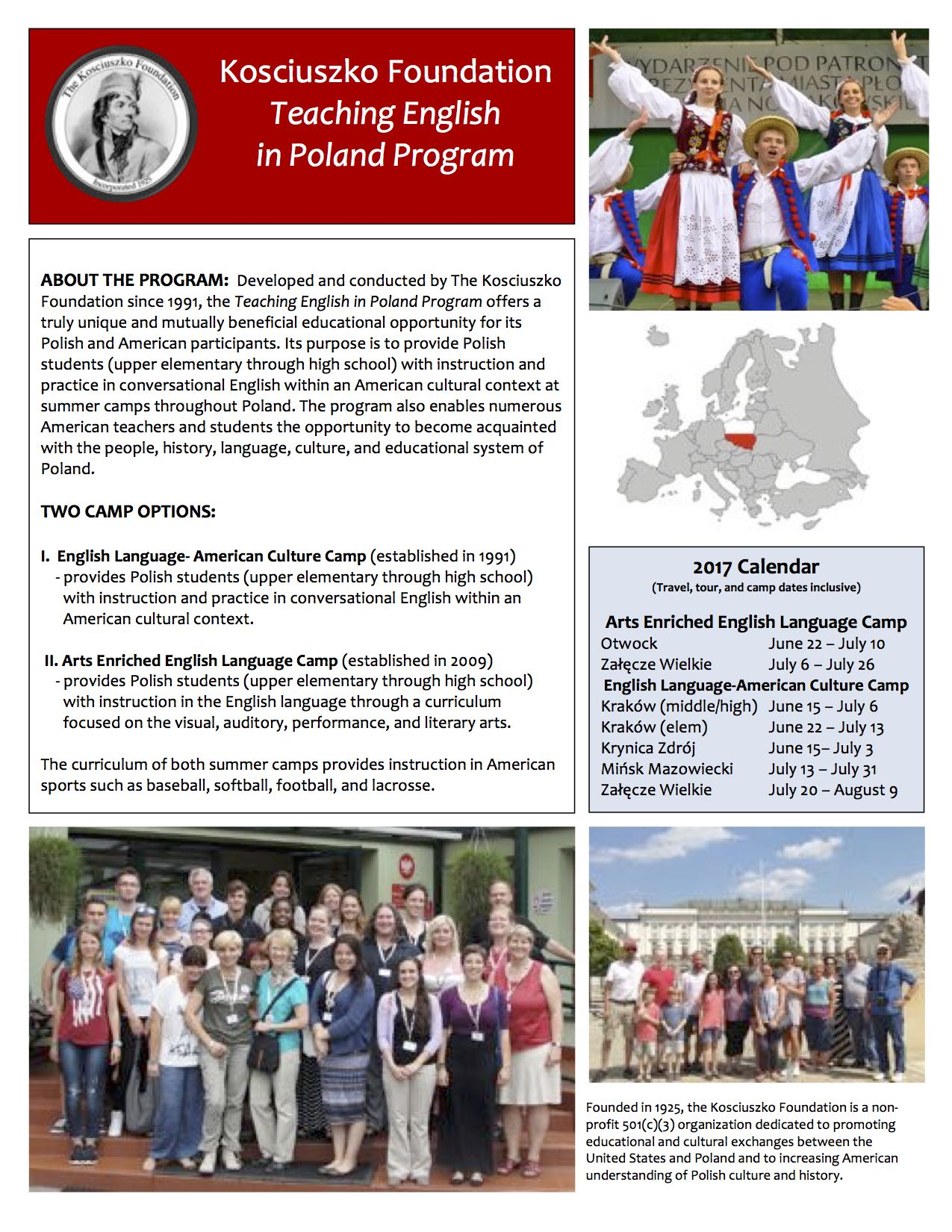 kosciuszko foundation american center for polish culture 2017 teaching english in 2017