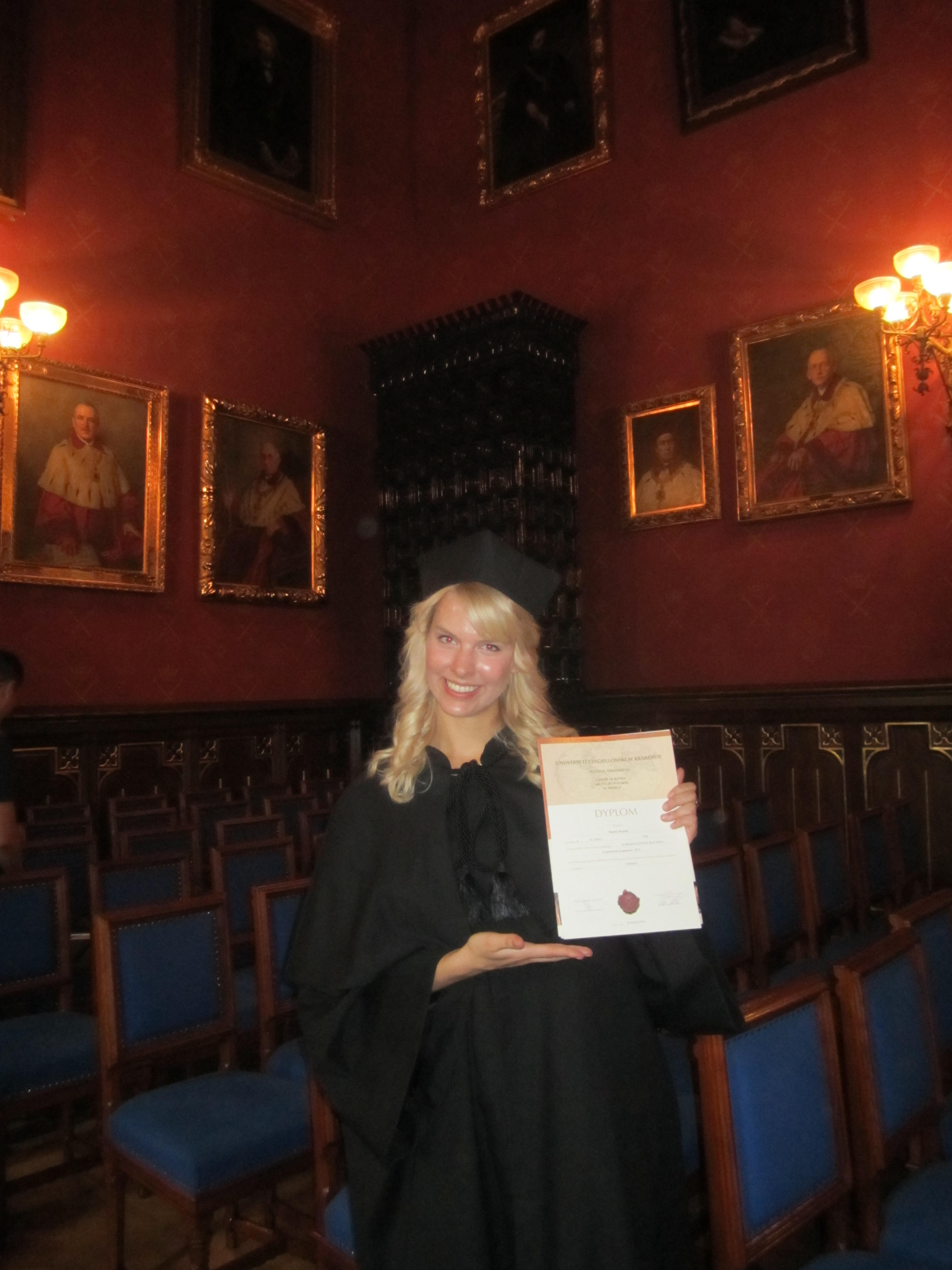 KF scholar receives a diploma from the Jagiellonian University, Center of Polish Language and Culture, Krakow.