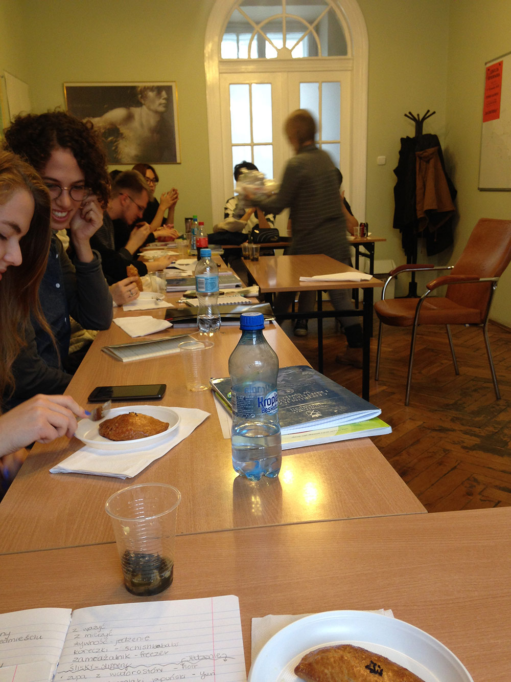 Students sample a Turkish borek on International Day.