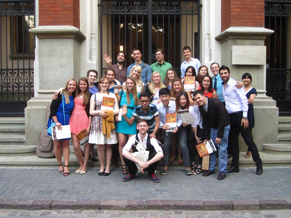 Graduates in front of Collegium Novum.